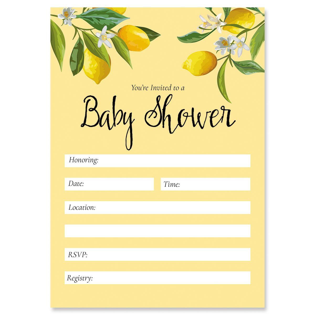 Lemons Baby Shower Fill In Invitations