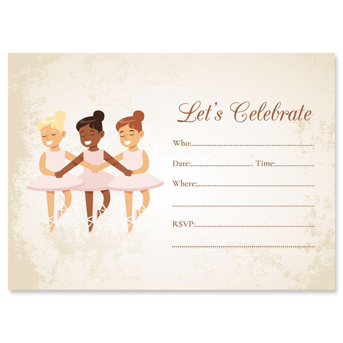 Ballerina Birthday Fill In Invitations