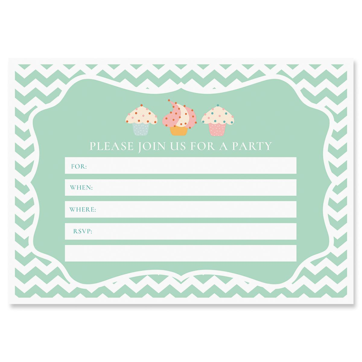 Cupcake Birthday Fill In Invitations