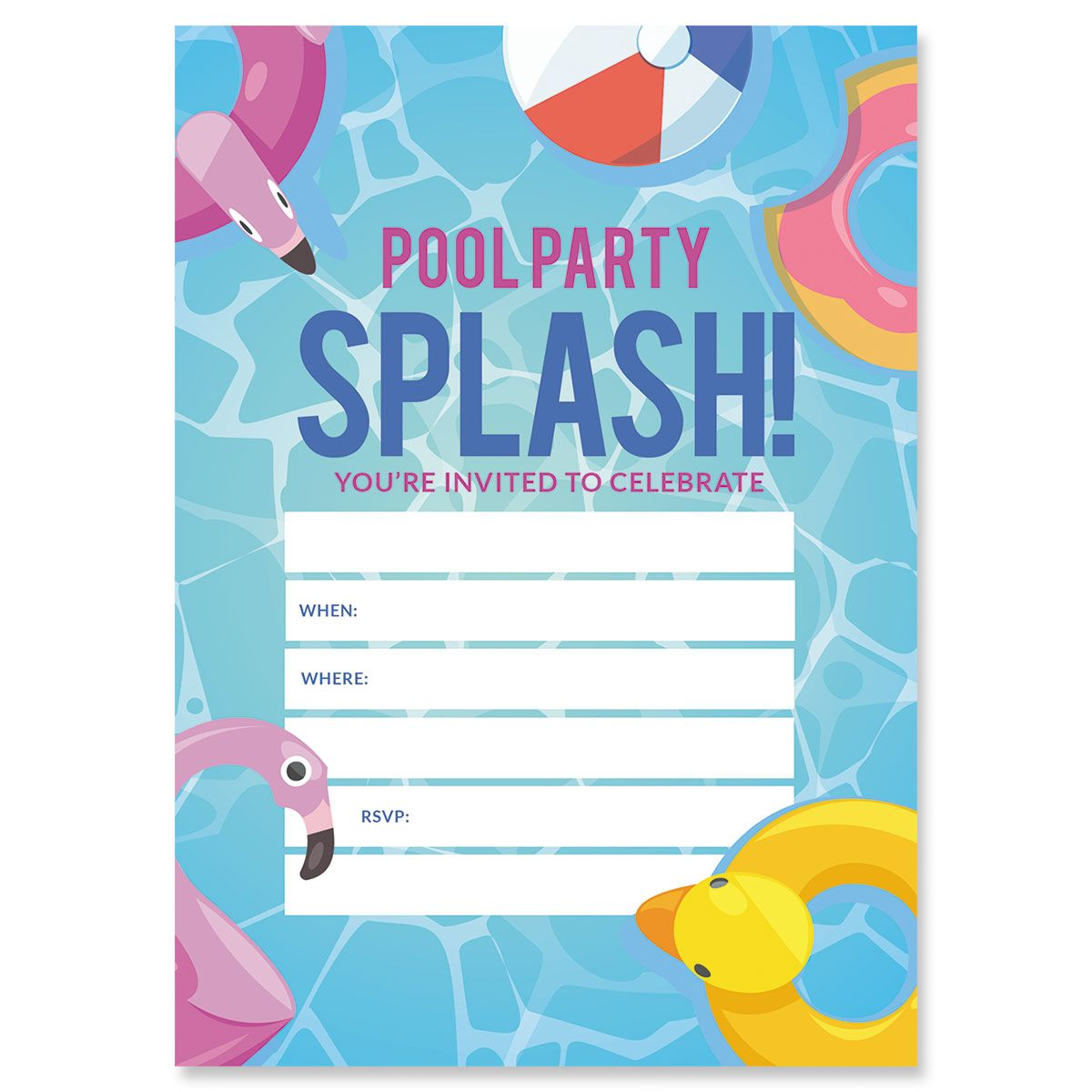 Pool Party Birthday Fill In Invitations