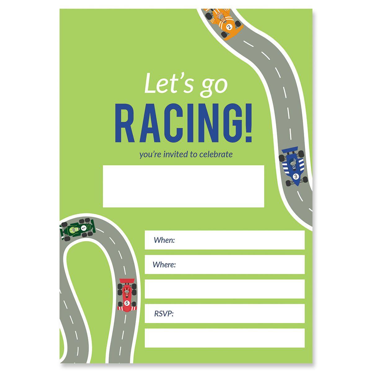Race Car Birthday Fill In Invitations