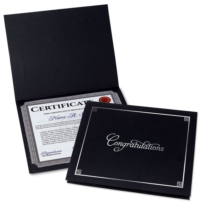Congratulations Black Certificate Folder with Silver Border - Set of 50