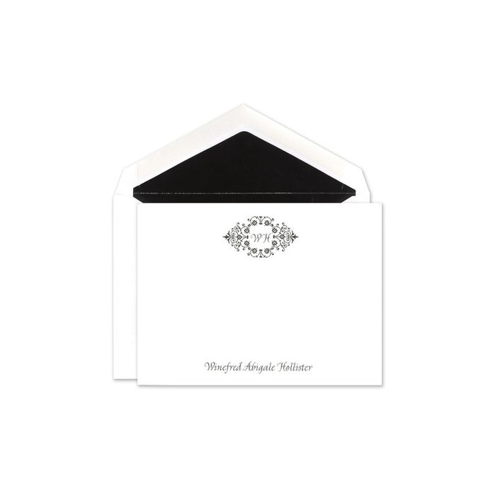 White Scroll Flat Card