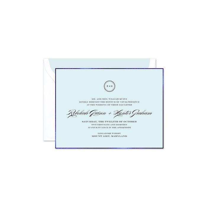 Blue Foil Border Invitation