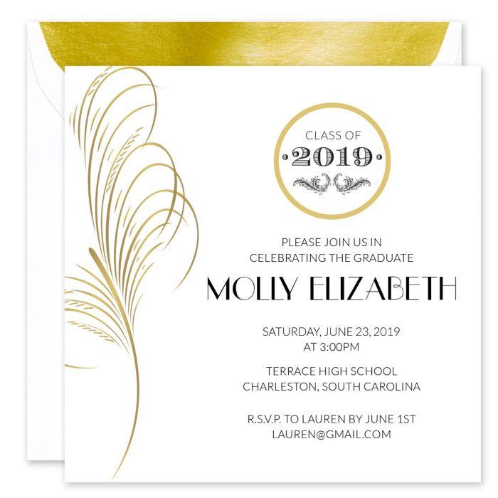 Gold Feather Invitation