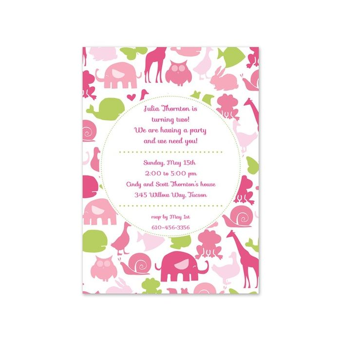 Pink Animals Invitation