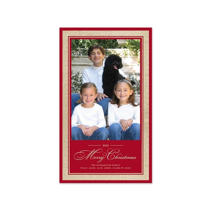Red Burlap Photo Card
