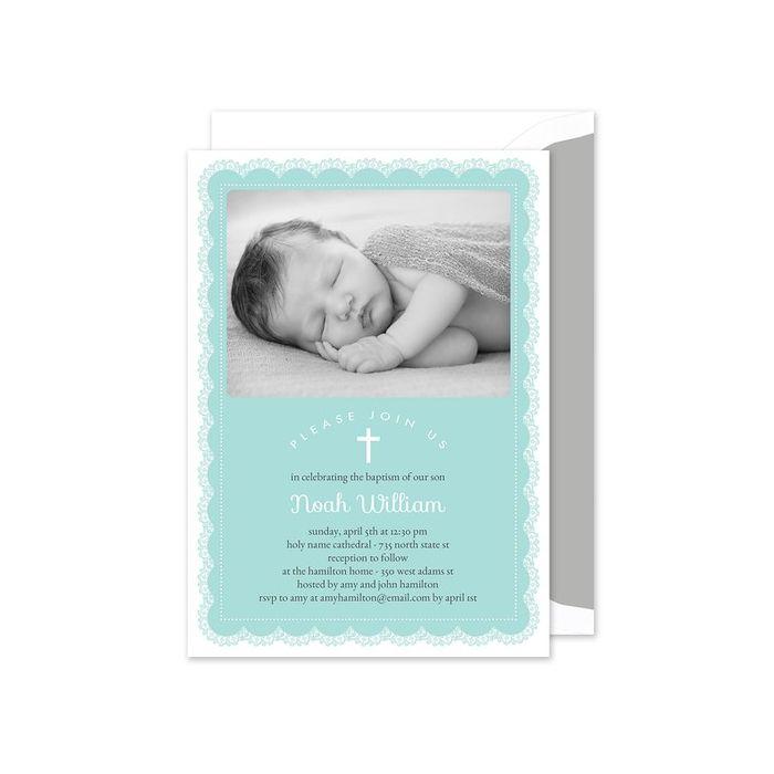 Blue Lace Photo Invitation