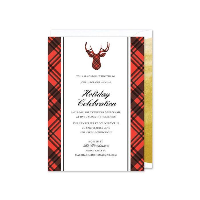 Plaid Reindeer Invitation