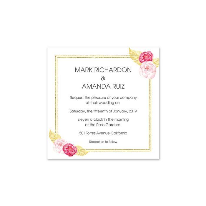 Golden Floral Invitation