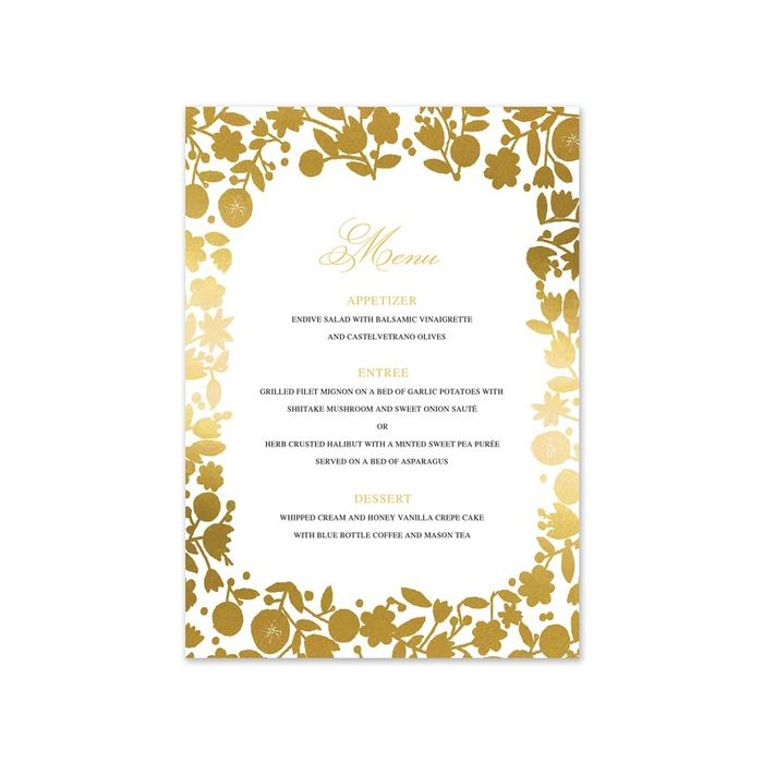 Gold Floral Menu Card