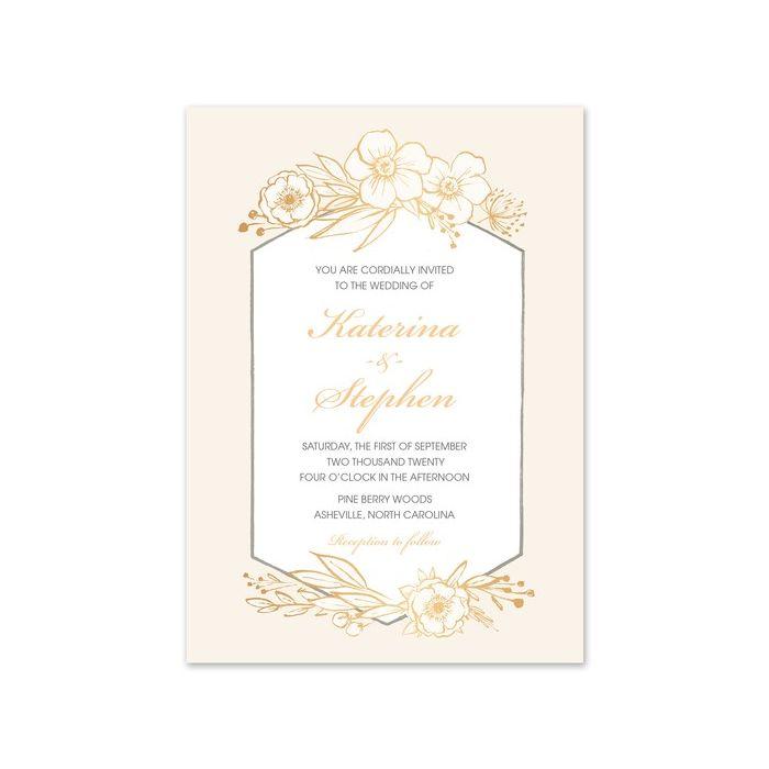 Champagne Floral Invitation