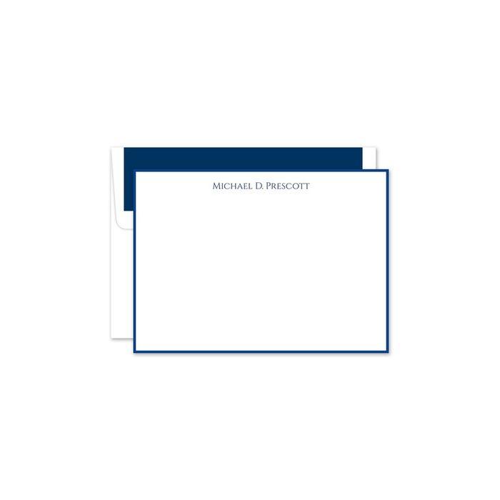 Navy & White Flat Card