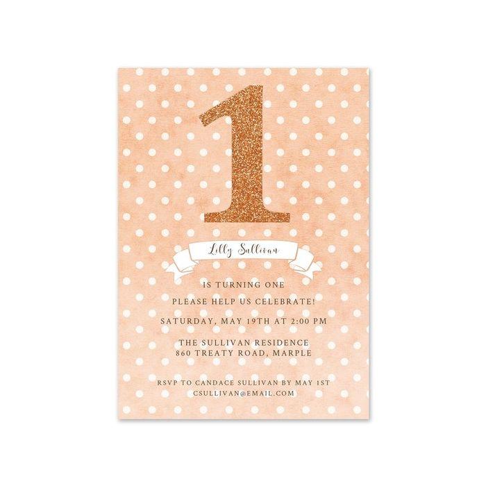 Peach Dots Invitation