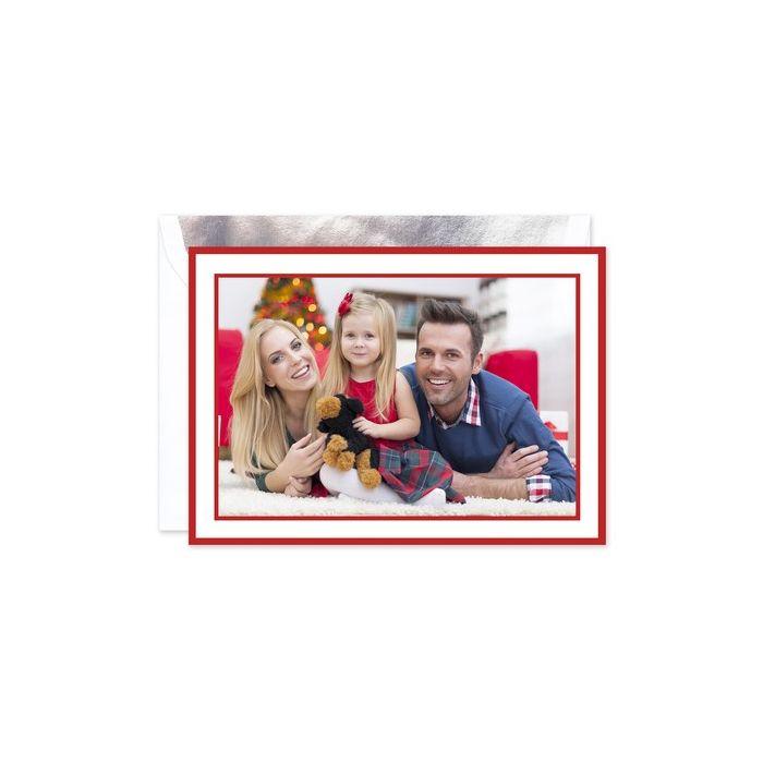 Crimson Border Photo Card