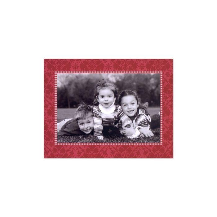 Red Damask Mounted Photo Card