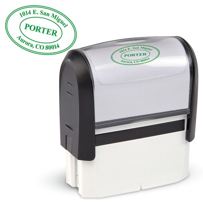 Oval Address Stamp-Green Ink-478016