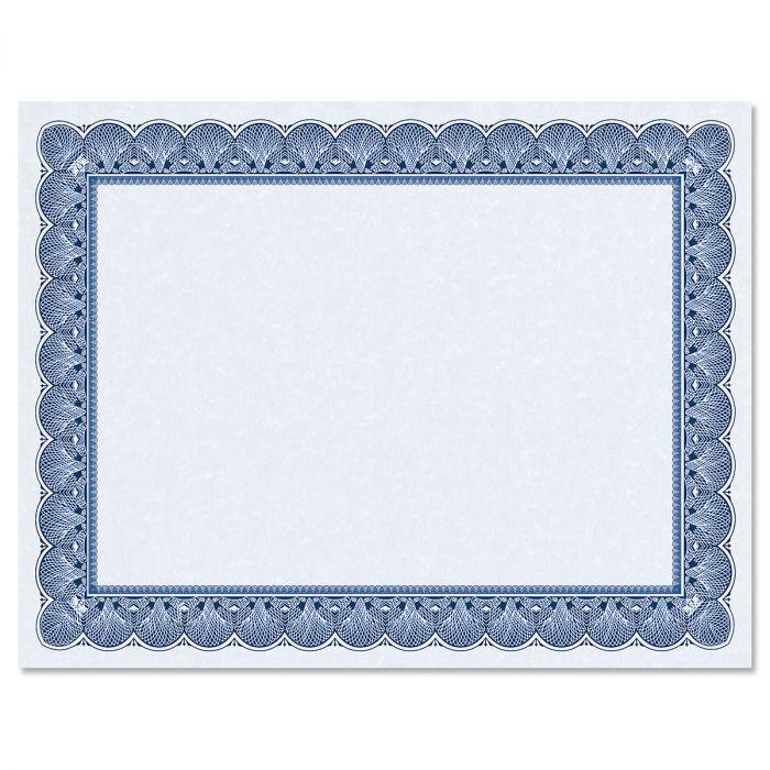 Elite Blue Certificate Paper on Blue Parchment