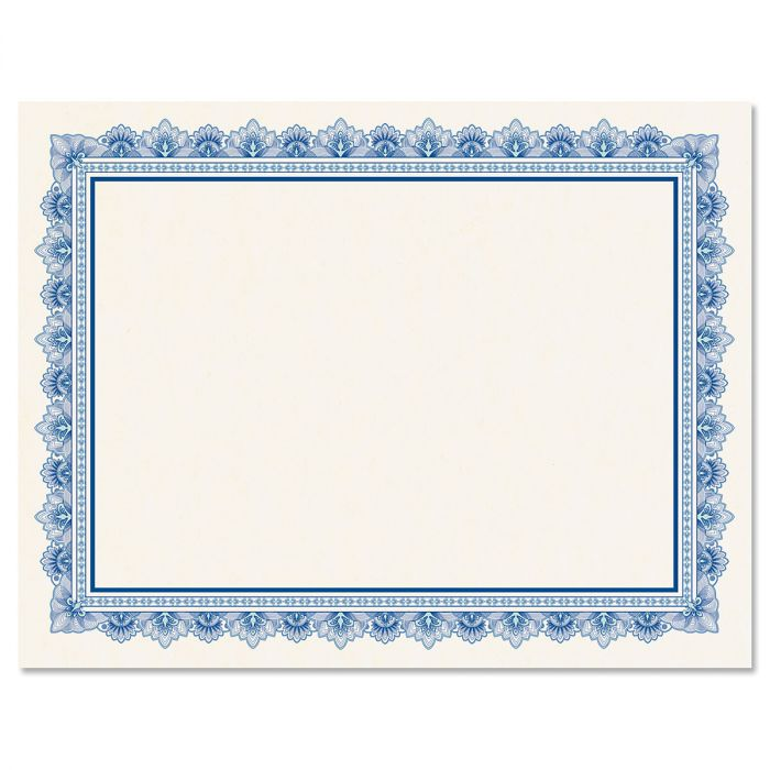 Intricate Blue Certificate Paper on White Parchment