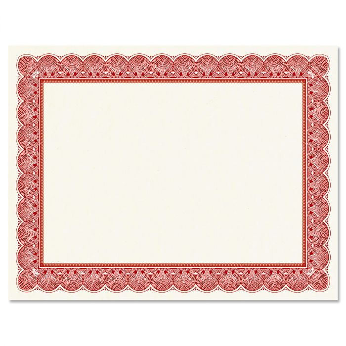 Elite Red Certificate on White Parchment - Set of 25