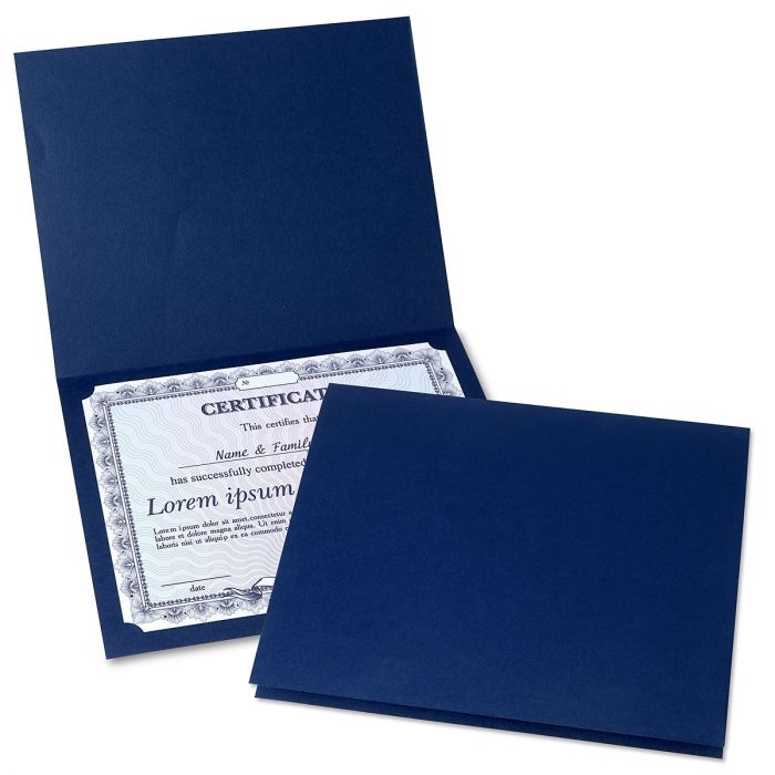 Plain Blue Certificate Folder - Set of 25