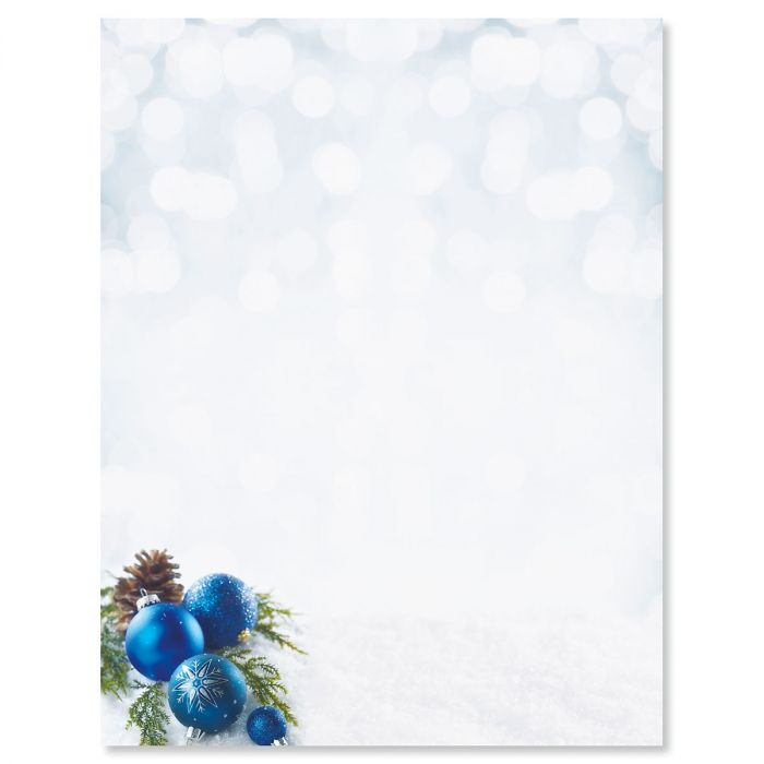 Blue Ornaments Letter Papers