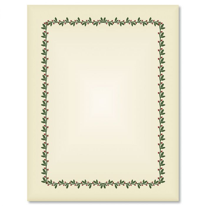 Ecru Holly & Berry Frame Letter Papers