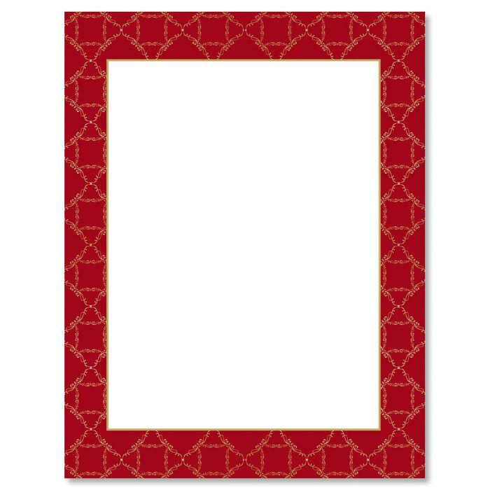 Red Damask Frame Letter Papers