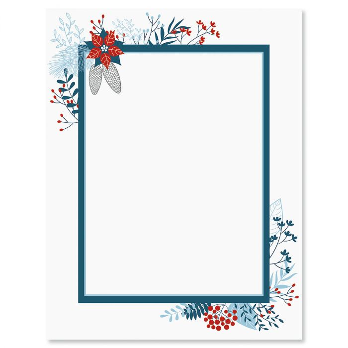 Blue Holiday Flourish Letter Papers