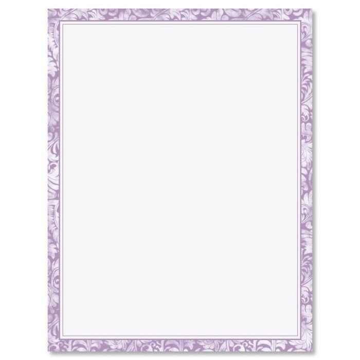 Purple Border Letter Papers