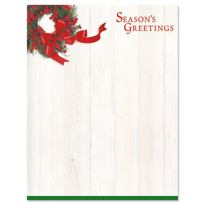 Wreath and Ribbon Letter Papers