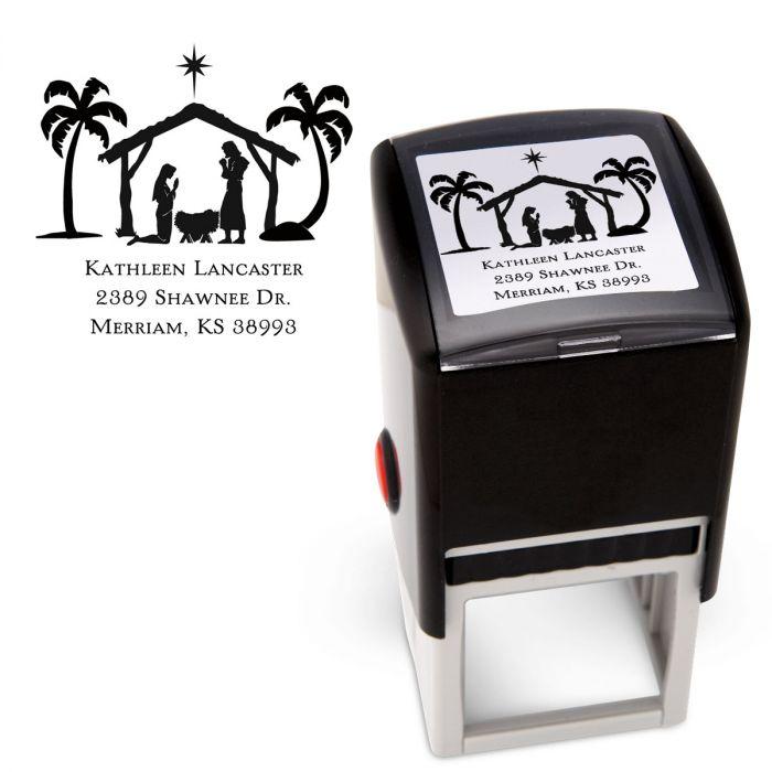 Nativity Square Custom Address Stamp