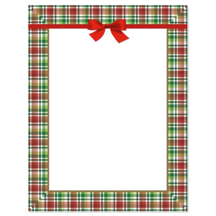 Christmas Plaid Letter Papers