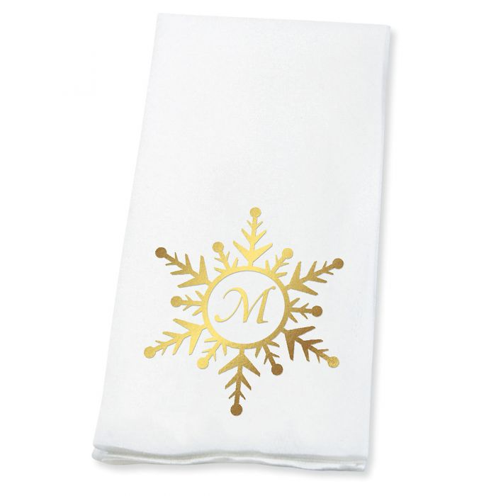 Snowflake Initial Foil-Stamped Disposable Hand Towels