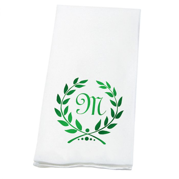 Wreath Initial Disposable Hand Towels