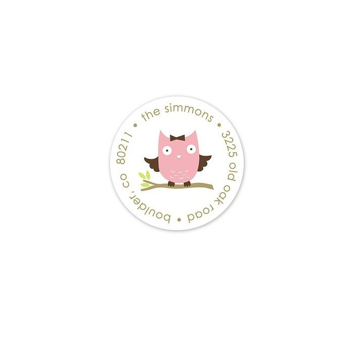 Pink Owl Address Label