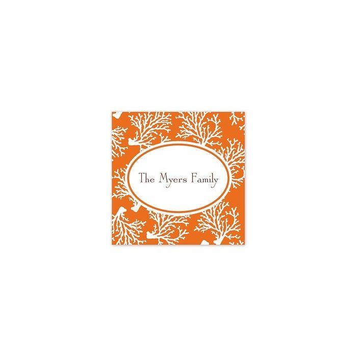 Orange Coral Square Sticker