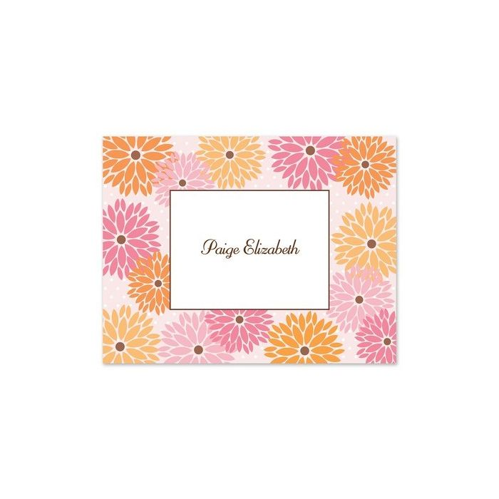 Pink Zinnias Note Card