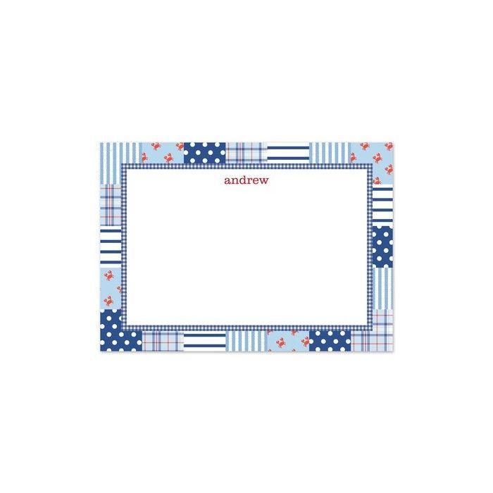 Blue Patchwork Flat Card