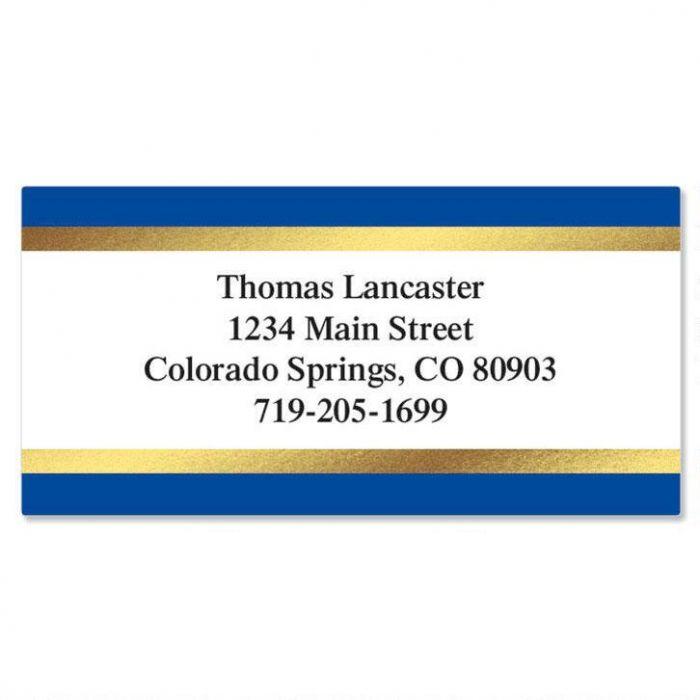 Blue and Gold Foil Border Custom Address Labels