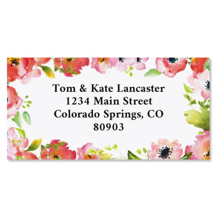 Blushing Garden Border Custom Address Labels