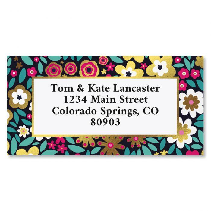 Flower Flare Foil Border Custom Address Labels