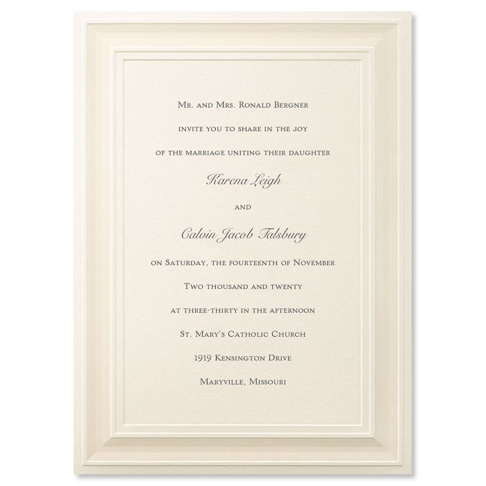 A Royal Frame Ecru Invitation