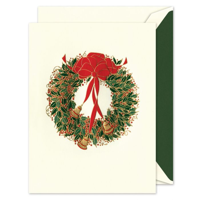 Holly Wreath with Bells Greeting Card