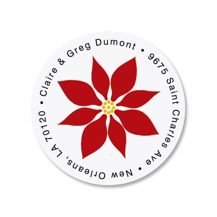 Poinsettia Round Custom Address Labels