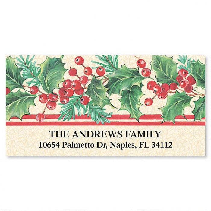 Holly Stripe Deluxe Address Labels