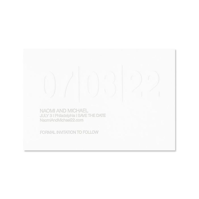 Premium Weight Fluorescent White Cotton Save the Date