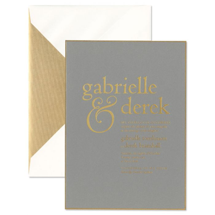 Light Grey with Gold Trim Invitation