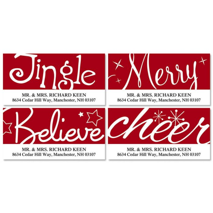 Red & White Christmas Deluxe Return Address Labels  (4 Designs)