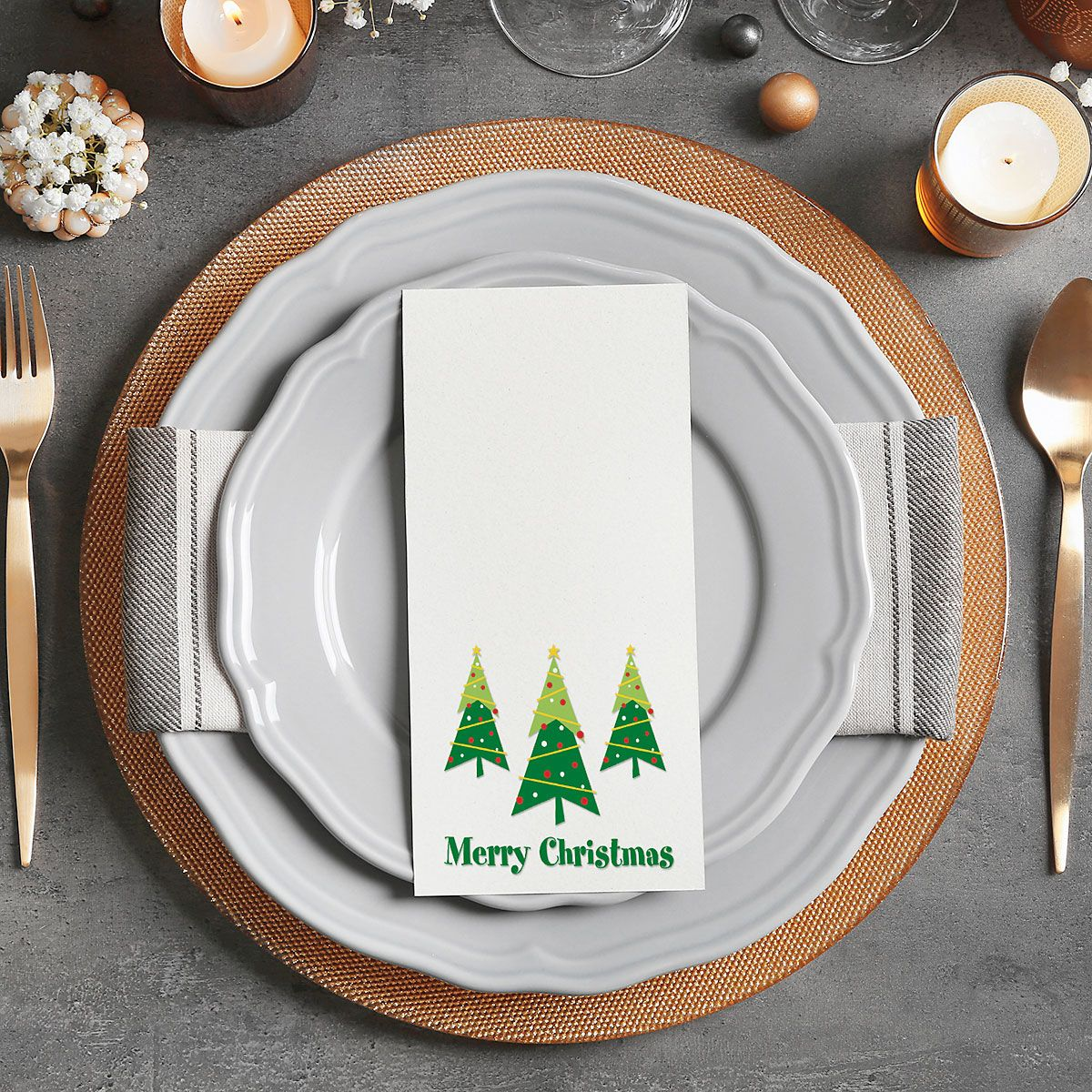 Merry Christmas Trees Hand Towels